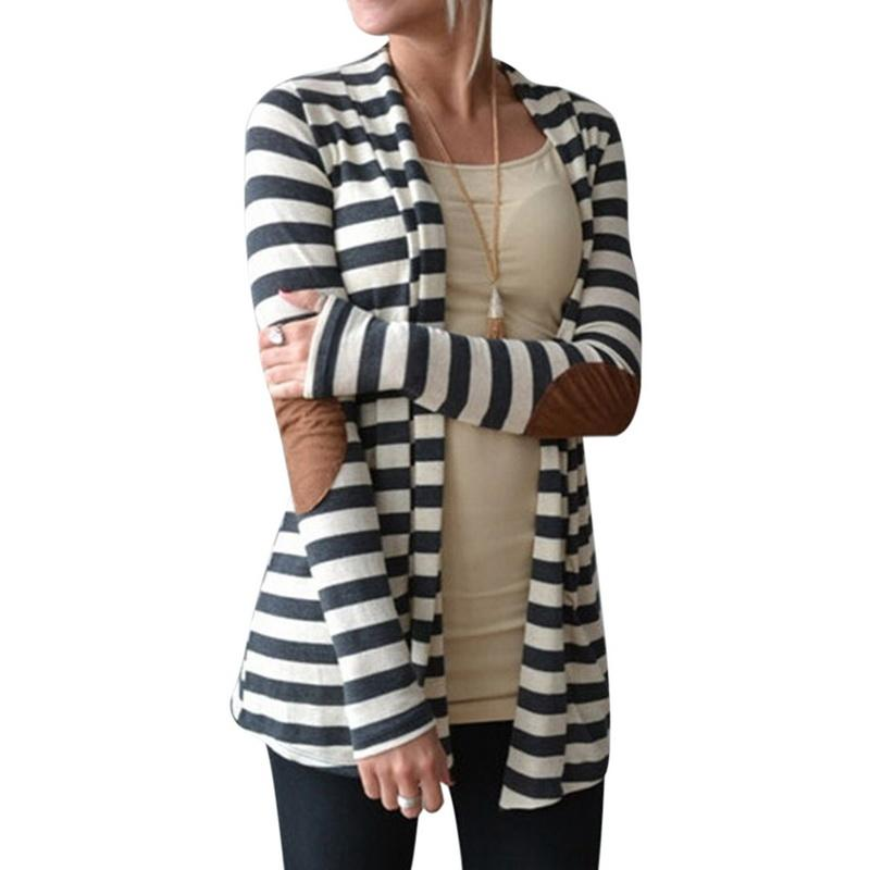 Plus Size S-5XL Women's Cardigan Coat Runnning Jacket Striped Print Long-sleeve Arm Patches Cotton Blend Jacket Sportswear Coat