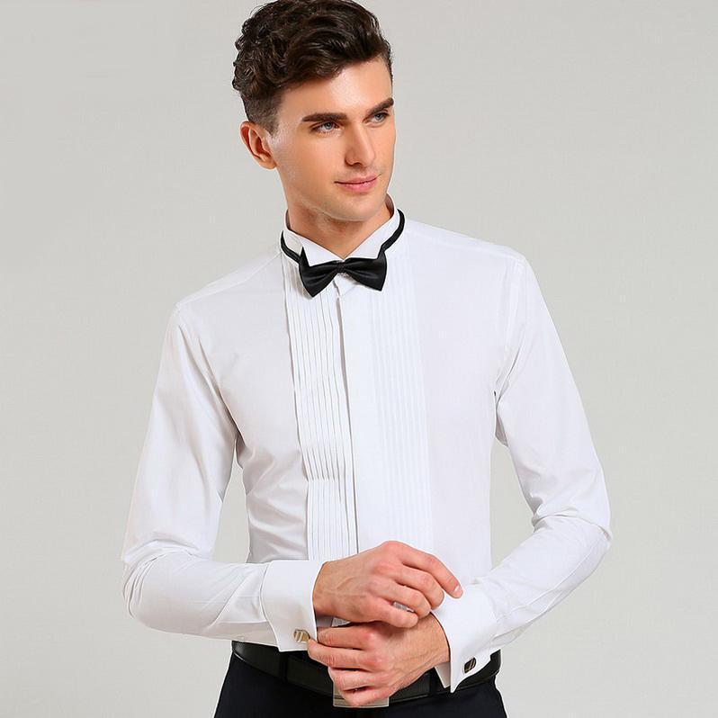 Acquista Camicia Da Uomo Manica Lunga Abito Da Sposo Bianco Abito Da Sposa Con  Collo In Rondine 5c4a465015f