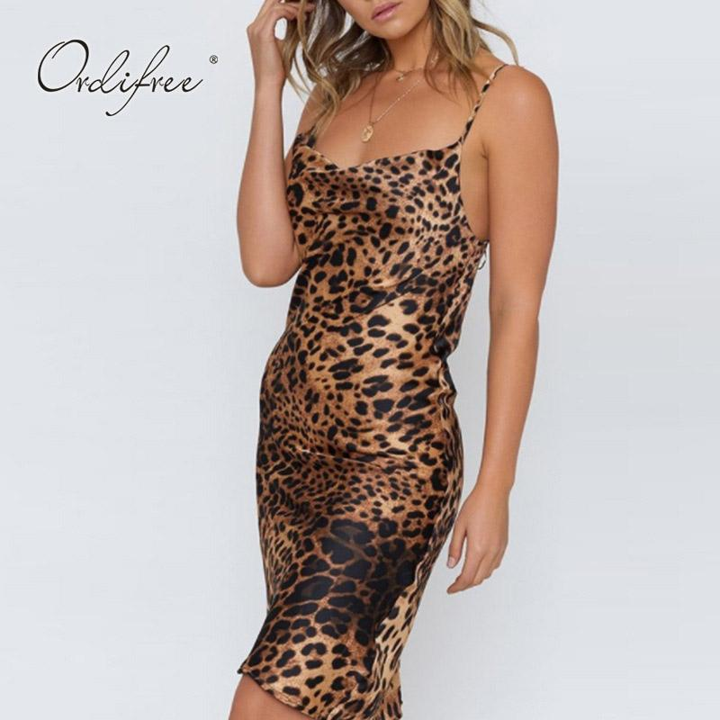 2f080925bf3 Wholesale 2019 Summer Women Silk Slip Dress Sexy Party Dresses Leopard  Print Short Satin Strap Dress Party Dresses Ladies Dress For Cocktail From  ...