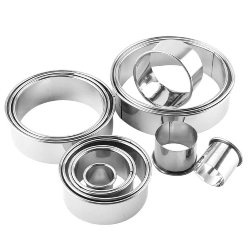 14pcs Stainless Steel Round Dumplings Maker Wrappers Molds Set Cutter Tools Round Cake Cookie Pastry Wrapper Dough Cutting Tools
