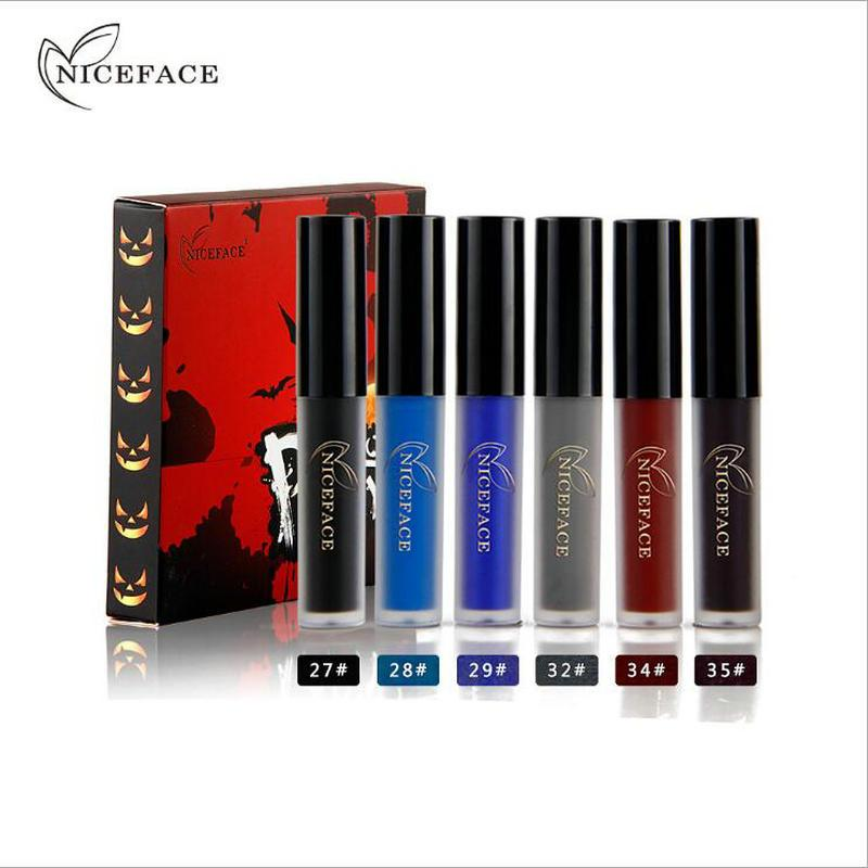 6 Colores / kit Maravilloso Fashion Party Lip Gloss Set Liquid Mate Lipstick Sexy blue Lipstick Impermeable Nude Labios Maquillaje Cosmético NICEFACE