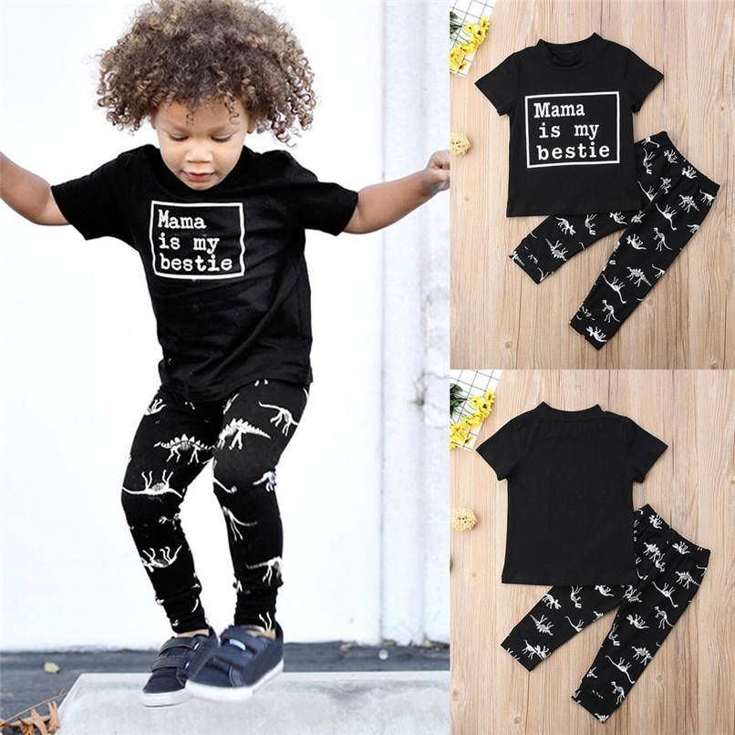 9f22db651d6d10 2 PCS Roupa Dos Miúdos Da Criança Dos Miúdos Do Bebê Meninos Carta de  Impressão de Manga Curta T-shirt Tops + Dinosuar Imprimir Calças Definir ...