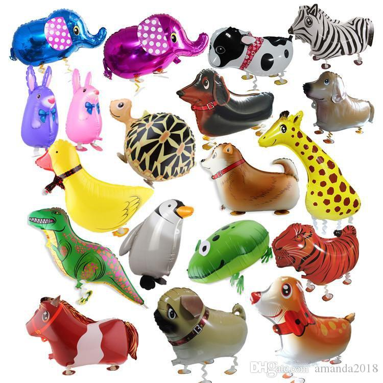 Walking Pet Animal Helium Aluminum Foil Balloon Automatic Sealing Kids Baloon Toys Gift For Christmas Wedding Birthday Party Supplies