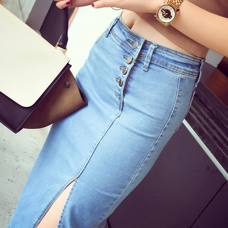 0deb3585121 2018 summer and autumn, pure color, breasted, elastic, bag, buttocks,  skinny, split fork denim skirt, women s leisure.