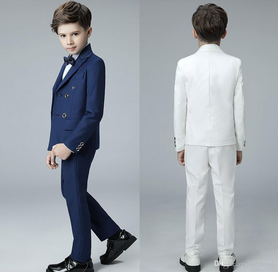 7a1a816c45d6 2019 Custom Made Royal Blue Long Sleeve Boys Prom Tuxedos Suits Double-Breasted  Male Children Formal Wedding Gowns (Jacket+pants+bow-tie)