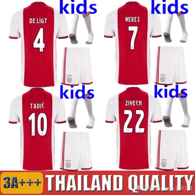 3a274687f 2019 2019 2020 Ajax FC Kids Kit Soccer Jerseys 19 20 DE JONG LIGT VAN DE  BEEK NERES Football Uniforms Amsterdam TADIC ZIYECH Camisetas From  Amy1003_1, ...