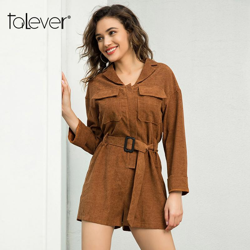 c4e63d2cf88e 2019 Women Corduroy Playsuit Female Streetwear Elegant Belt Long Sleeve  Jumpsuit And Romper Spring Plus Size Tops Overalls Talever From Dufflecoat