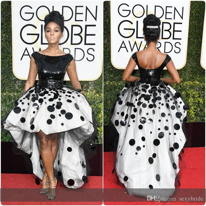Short Front Ball Gown Prom Party Dresses Black and White Sequins hand Made Appliques Golden Globe Sexy Janelle Monae Cocktail Pageant Dress
