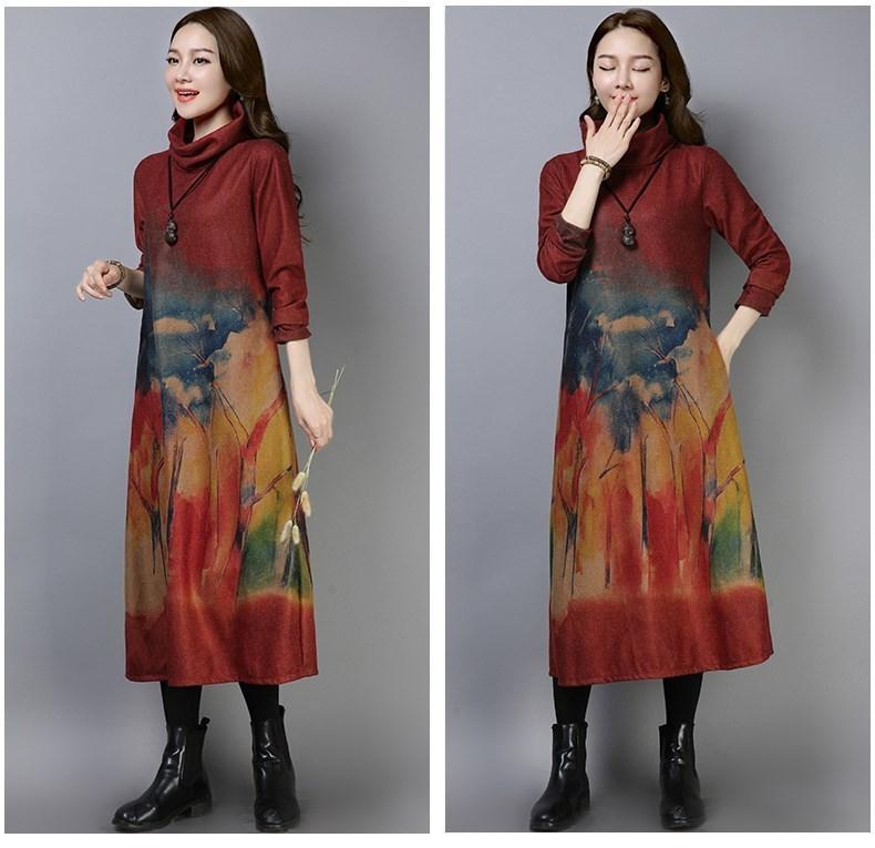 b15a90e6e1f7 Nuevos vestidos de fiesta de cuello alto de mujer vintage Vestidos rectos  de manga larga para mujer Vestidos flojos de otoño e invierno con estampado  ...
