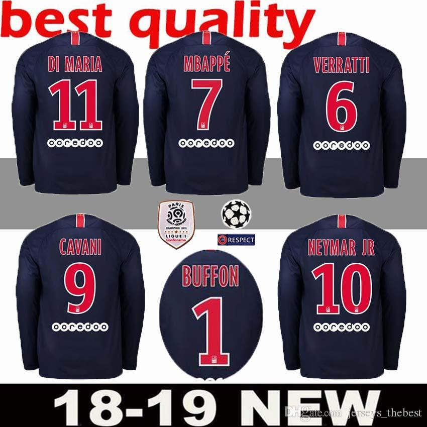Camiseta De Fútbol De Manga Larga Para Casa PSG 2018 2019   7 MBAPPE Camiseta  De Fútbol Paris Saint Germain   10 Uniforme De Fútbol NEYMAR JR 2019 Talla  S ... 42678886c92cd