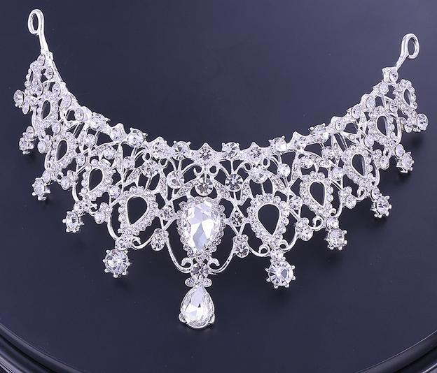 Best-selling high-end bridal accessories crown necklace earrings three-piece white rhinestone princess crown banquet headband