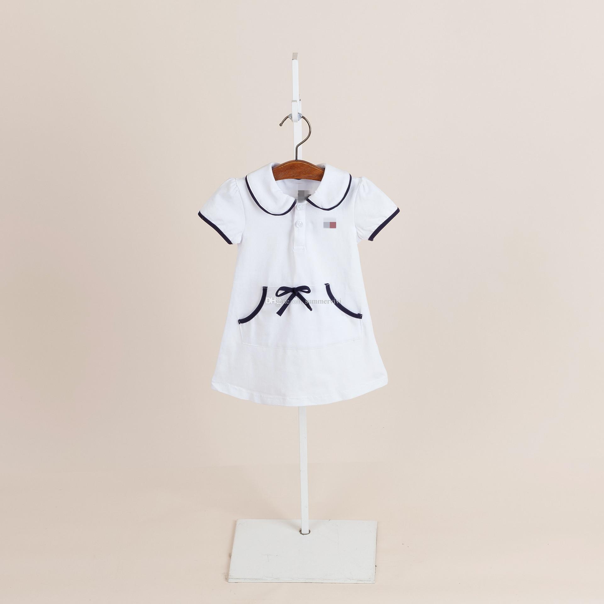 c4a673601 2019 New Baby Girls Summer Dresses Designer Kids Lapel Short Sleeve ...