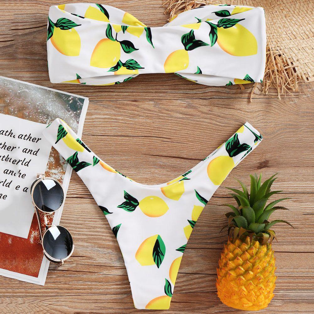599161956c Cheap 2019 Lemon Print Twist Bandeau Bikini Set Bathing Suit Swimsuit  Strapless High Leg Thong Bikini Push Up Bikini Women Swimwear