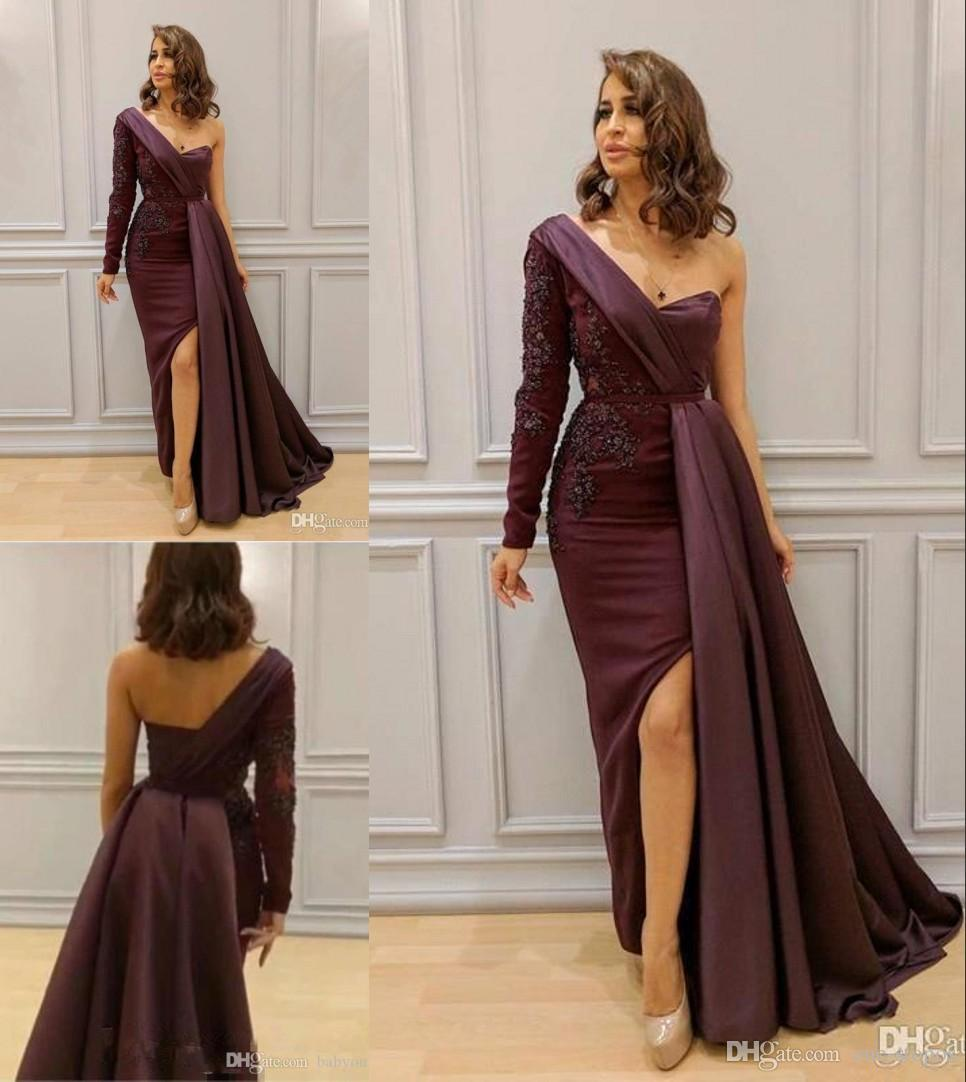 Maroon One Shoulder Prom Dress 2019 Sexy Appliqued High Slit Formal Party  Gown Mermaid Pageant Dresses Custom Made Prom Dresses Online Promdresses  From One ... 513501d9c885