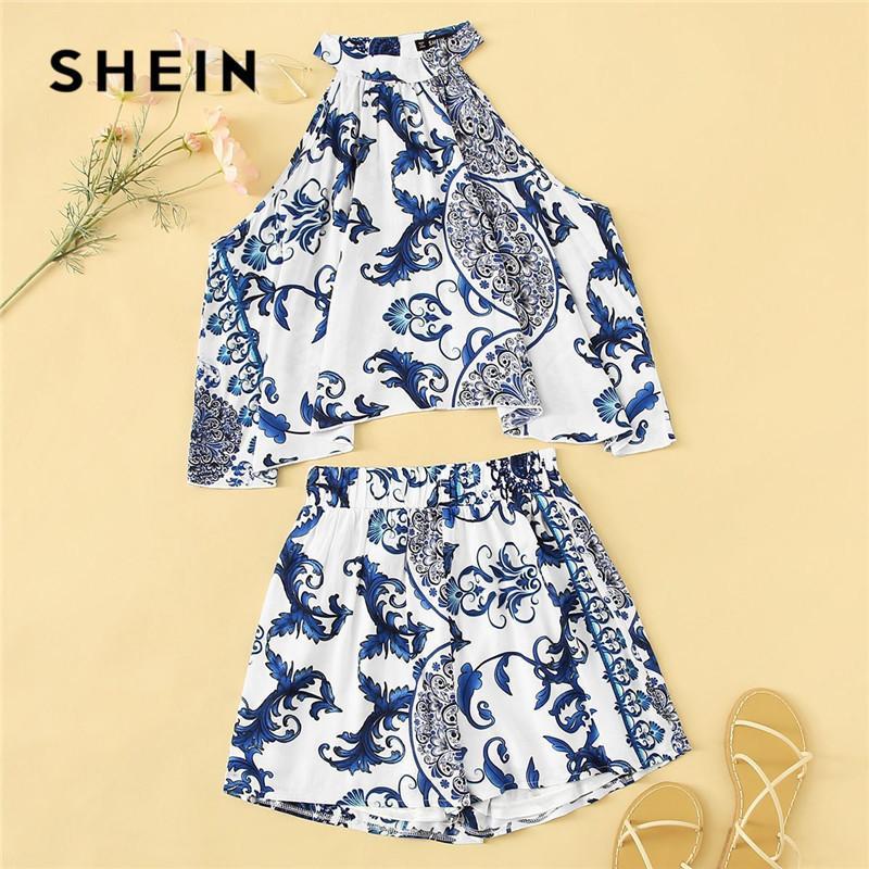 8104a21f35181b 2019 Lady Boho Porcelain Print Swing Halter Crop Top Shorts Two ...