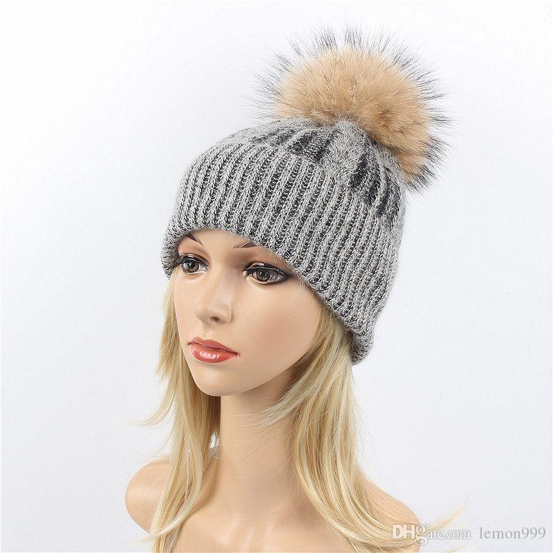 4a2e03994 Woman Winter Hats Beanie Girls Knitted Caps Warm Girls Ski Knit Hat Soft  Female Beanies Snow Caps Raccoon Fur Pom Pom Ball Hats