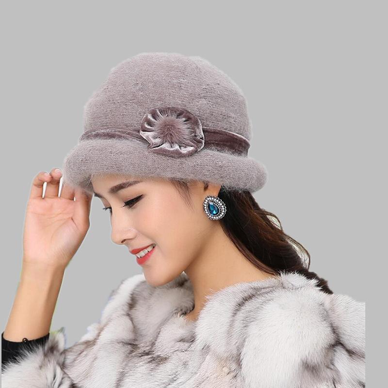 OZyc Wool Women Bowler Winter Hat Fedora Bucket Cloche Round Cap 1920s  Vintage Camel Flower Fashion Elegant Girls Warm Hat D19011102 Bucket Hat  Fedora Hat ... 504ebbcd8db6