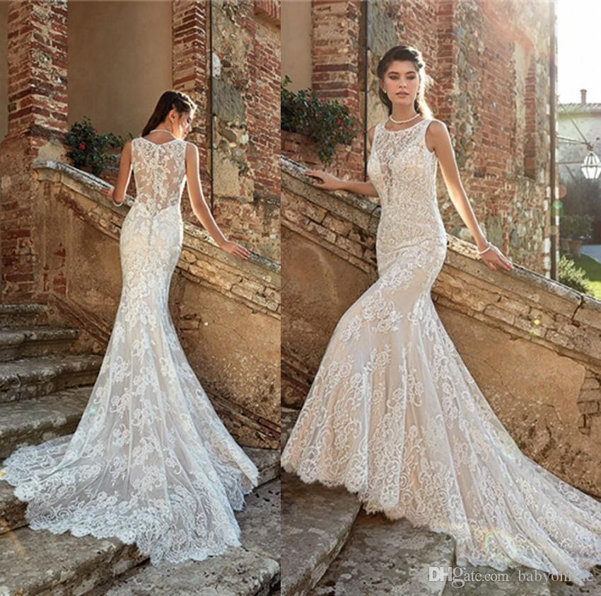 ebdebed3 Modern 2019 Full Lace Mermaid Wedding Dresses 2019 Sexy Sheer Illusion  Bodice Appliques Sweep Train Bridal Gowns With Buttons Covered Back Halter  Mermaid ...