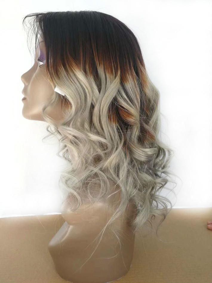 Silver Grey Ombre Human Hair Wigs Raw Indian Curly Glueless Full Lace Wig Colored 1B Gray Loose Wave Braided Lace Front Wig For Black Women