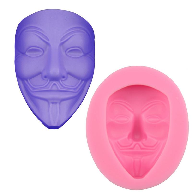 V Vendetta Mask Fondant Cake Moulds Chocolate Baking Moulds Silicone Halloween Fondant Cake Mould Kitchen Bakeware Tools Accessories HHA746