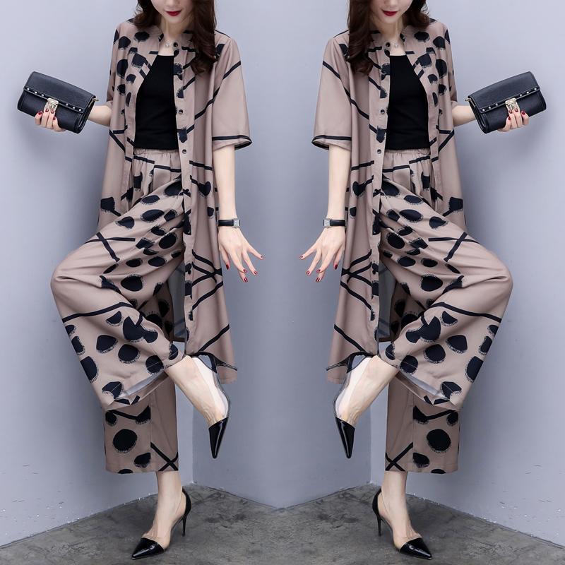 7206534e025 Large Big Size Set Women Wide Leg Trousers Suit Set Palazzo Pants ...