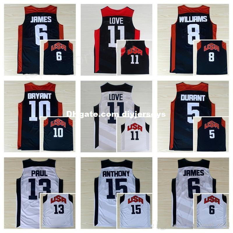 6127ff8ac ... authentic jersey 5 white mens basketball 2016 olympic 98349 d7a51   norway 2019 2012 usa dream team ten jersey 5 kevin durant 10 kobe bryant 12  james