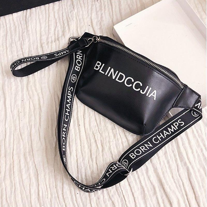 d7000d359a57 LXFZQ New PU Luxury Brand Chest Fanny Pack Wild Fashion 2018 Black  Explosion Women S Waist Bag Belt Bag Men Hip Hologram Bum Bags Travel  Backpacks From ...