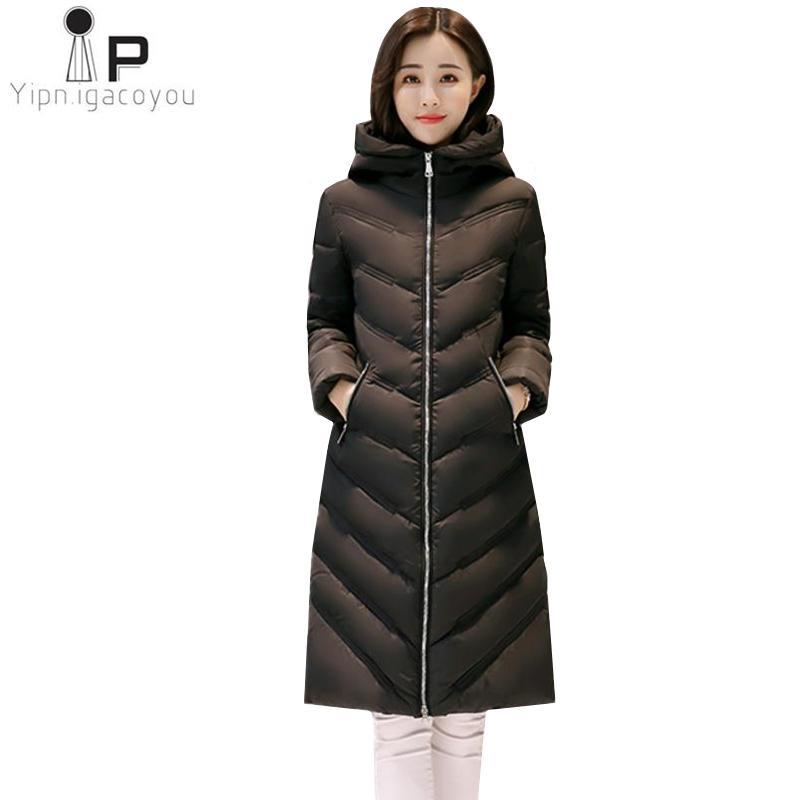 finest selection 02be5 de6eb Cappotto invernale da donna Parka coreano Plus Size Slim nero lungo piumino  caldo cappotto con cappuccio spesso giacca moda donna soprabito 2XL3XL