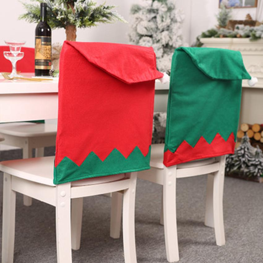 Christmas Chair Decoration Green And Red Color Non-woven Fabric Chair Cover Big Hat Chair Case Home Decoration ZZA1120