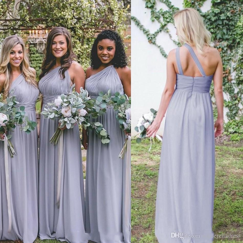 0f9555ab38e Dusty Blue Bridesmaid Dresses Cheap Chiffon Country Garden Formal Wedding  Party Guest Maid Of Honor Gown Plus Size Custom Made Cute Bridesmaid  Dresses Dark ...