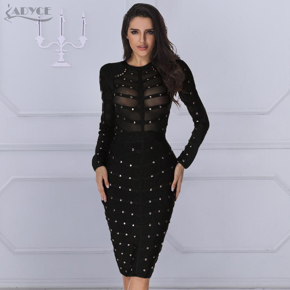 af405787f20 Adyce 2019 New Black Bandage Dress Women Spring Celebrity Party Dress Long  Sleeve Olive Mesh Gray Red Midi Bodycon Club Dresses Q190329 Cocktail Party  Dress ...