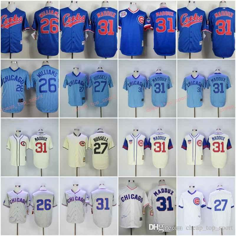 the best attitude afff5 da140 Cheap Cubs 26# williams/27# RUSSELL/31# MADDUX White Blue Grey Baseball  throwback Jerseys Shirt Stitched Top Quality