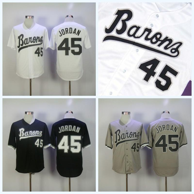 Mens Birmingham Barons Jersey Rookie 45 White Grey Black Baseball Jersey  Double Stitched Name & Number & Logo Fast Shipping