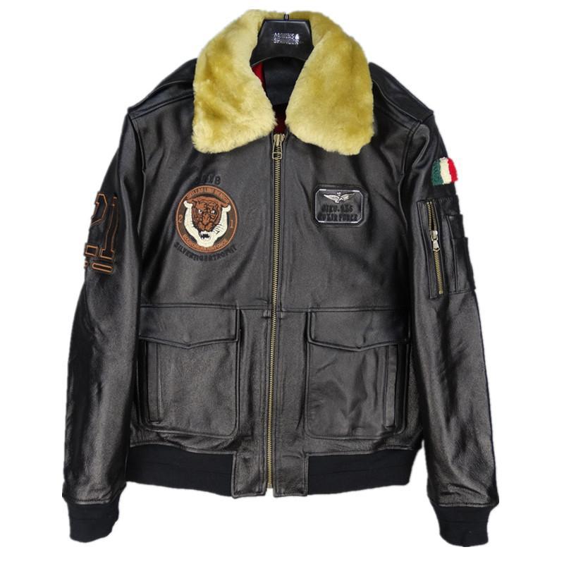 Manteau Harley La Plus Damson Laine Hiver Italie Xxxxxl Vachette Aviator Hommes Col Noir Veste En Taille Véritable De D Pilote Cuir f6gyvbY7