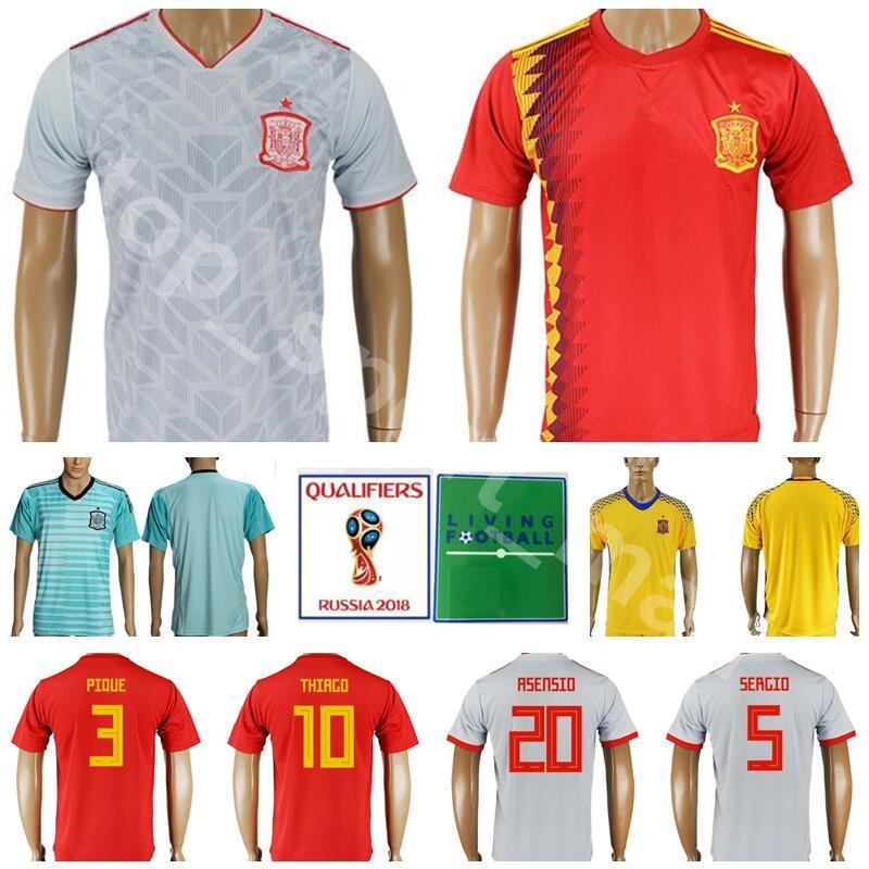 0100fe6b0d8a5 2019 Spain Soccer Jersey Men 3 PIQUE 18 JORDI ALBA 17 IAGO ASPAS Football  Shirt Kits 2018 World Cup 5 BUSQUETS 10 THIAGO Custom Name Number Red From  ...