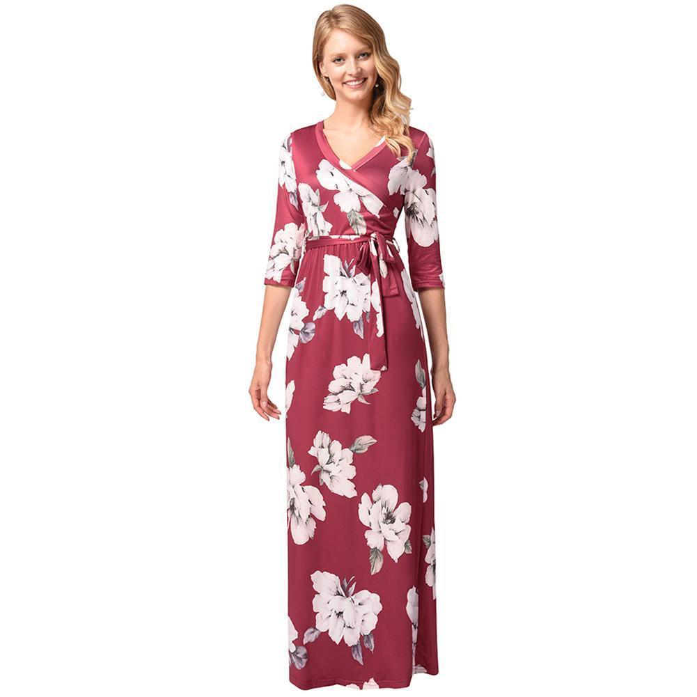 c786f5b279 Acheter 2019 Été Nouvelles Femmes Maxi Floral Dress Cross Demi Manches Wrap  Dress Ceinture Élégant Boho Long Dress Bourgogne Robe Ete Femme De $40.11  Du ...