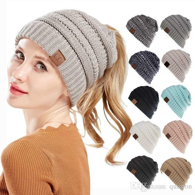 39529ab5 CC Caps CC Knitted Beanie Fashion Girls Winter Warm Hat Back Hole Pony Tail  Autumn Casual Beanies 15 Colors 1pcs
