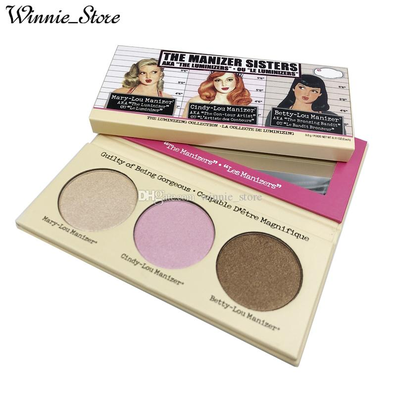 Factory Direct DHL Free New Makeup Face The Manizer Sisters Highlighter 3  color Bronzers & Highlighters Palette Best Quality