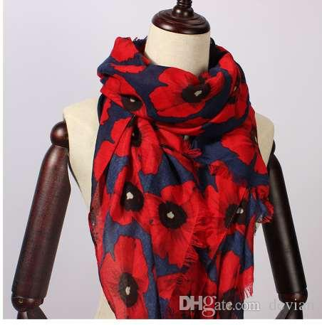 7a9743dec9d2c Women Scarf Vintage Poppy Floral Viscose Scarves New Design Shawls and  Wraps Lady Fringe Pashmina Muffler Hijab Foulard Cap
