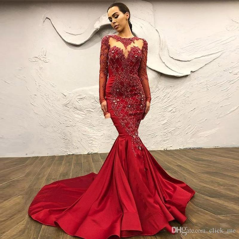 Dark Red Mermaid Evening Dresses With Sheer Neck Appliques Lace Beads Crystals Full Sleeves Prom Dress Satin African Women Party Gowns