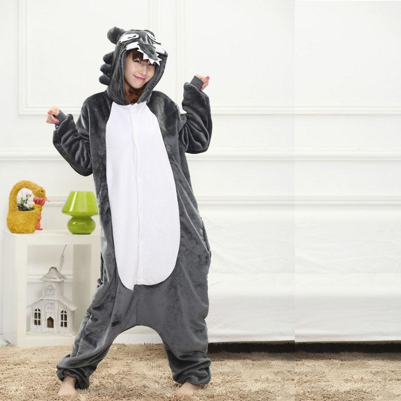 710aed01b02f 2019 Fancy Grey Wolf Kigurumi Pajama Animal Adult Onesies For Women ...