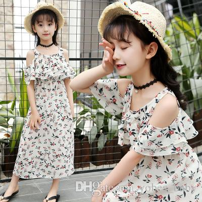 baby kids clothes Girls Summer designer Chiffon Dresses Floral Print Shoulder Bohemian Vacation Vest Small Fragrance Beach Skirt