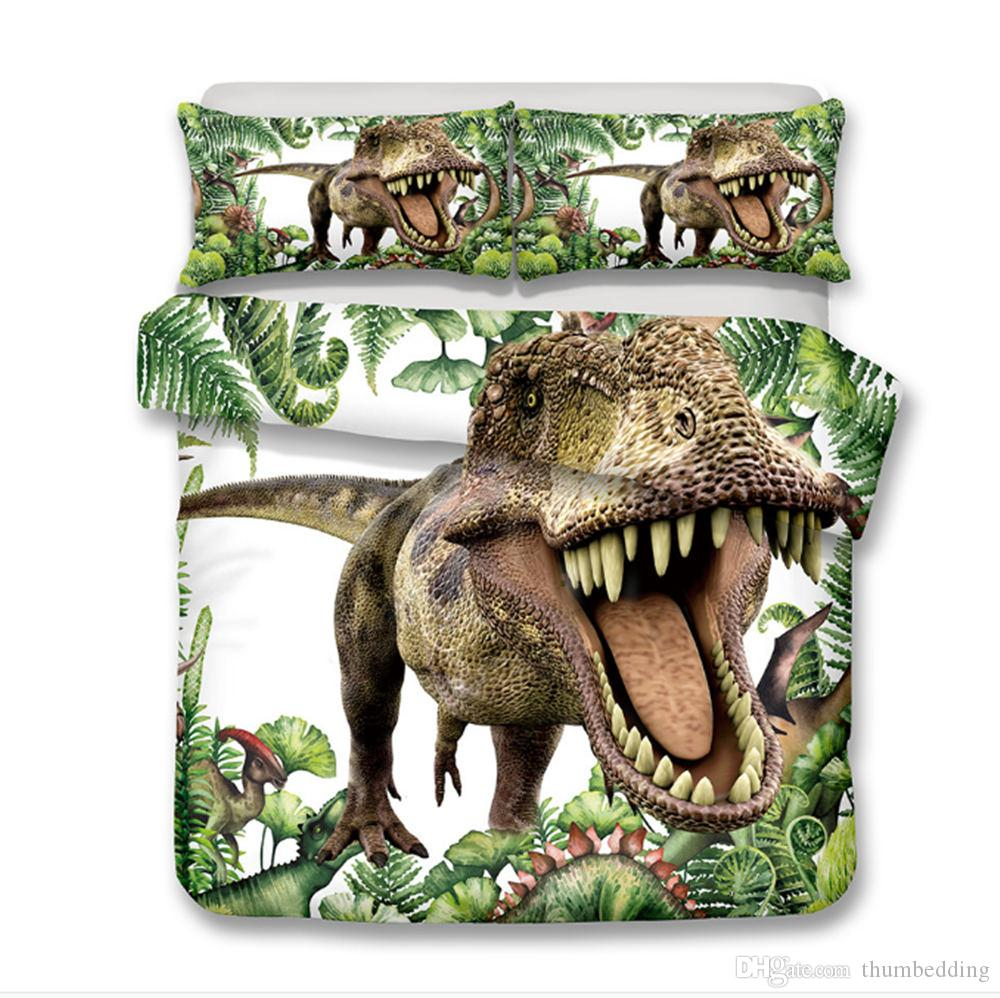 Thumbedding Dropship Opening Mouth Dinosaur Bedding Sets for Kids Children Twin Full Queen King 3D Duvet Cover Set with Pillowcase