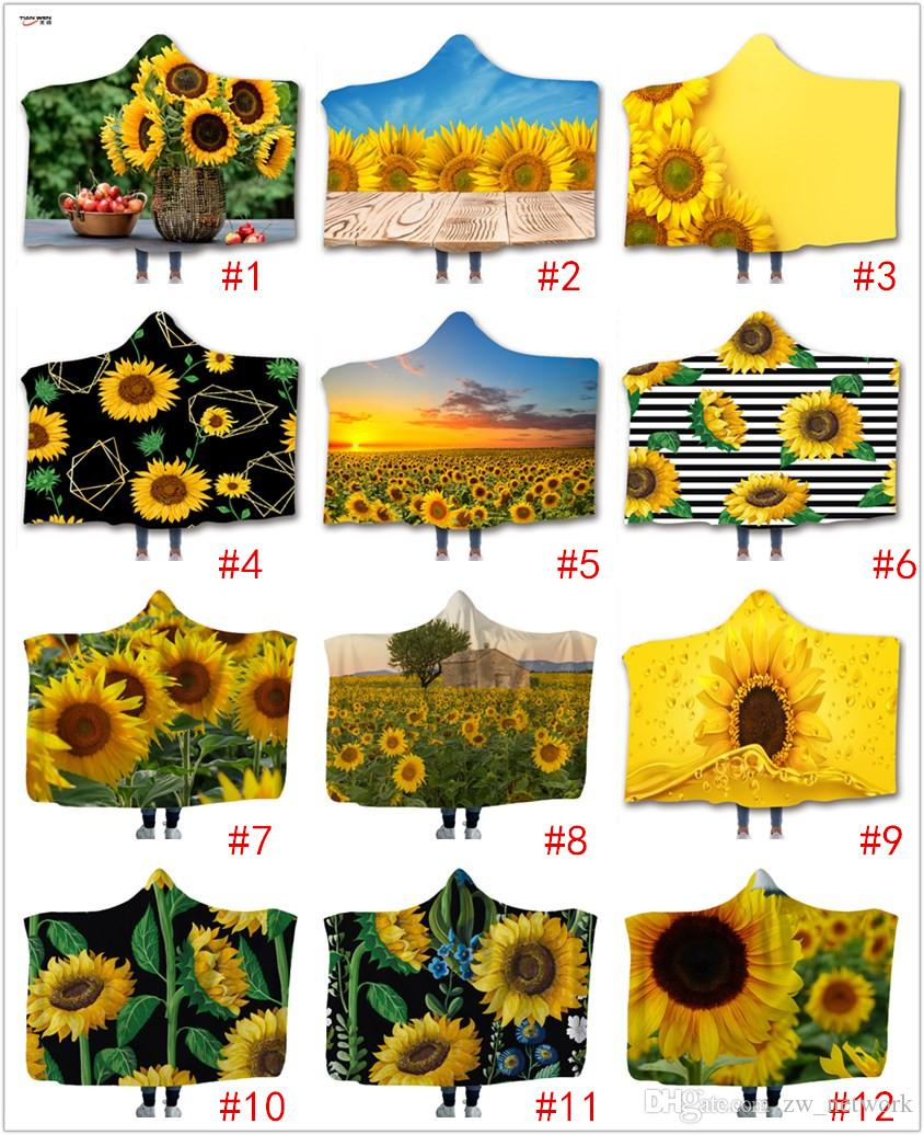 Colorful Sunflower Hooded Blanket 3D printing Children Blankets Kids wrap Soft warm Sherpa Fleece Throw Sofa Blanket bed plane 130cm*150cm