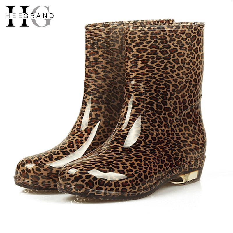 2018 Botas de lluvia para mujer Zapatos de otoño Mujer Slip On Mid Calf Plataforma de motocicleta Bota impermeable Botas Feminina XWX7268