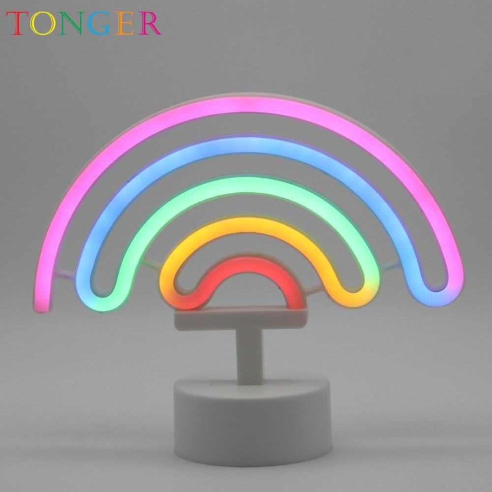 Acquista Tonger Rainbow Table Led Neon Light Sign Lampada Al Neon La