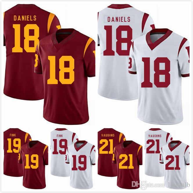 premium selection e84ef fe9e9 JT Daniels Jersey 18 Michael Brown 49 Tyler Vaughns 21 Iman Marshall 8  Amon-Ra St. Brown 8 Matt Fink 19 USC Trojans Jerseys 2019 S-3XL