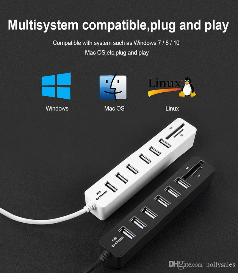 Novo USB HUB 3.0 USB Multi Divisor HUB2.0 Hab SD TF Leitor de Cartão Múltiplo para o Uso Do Computador Portátil