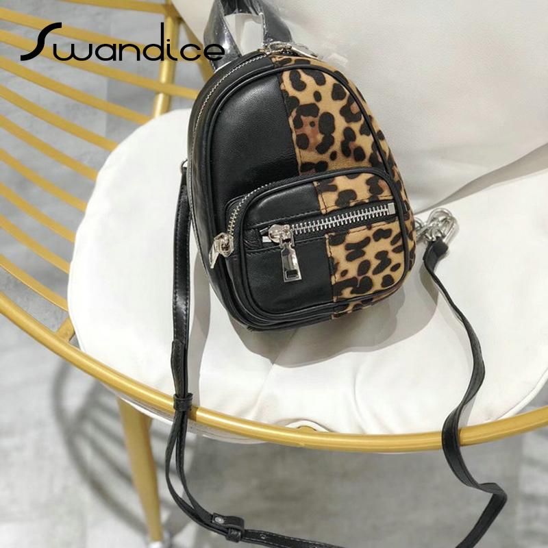 38822eebdcb8 Real Genuine Leather Natural Sheepskin Leopard Print Chain Chest Crossbody  Shoulder Mini Waist Belt Bags Women Female Handbags Leather Tote Bags  Clutch ...