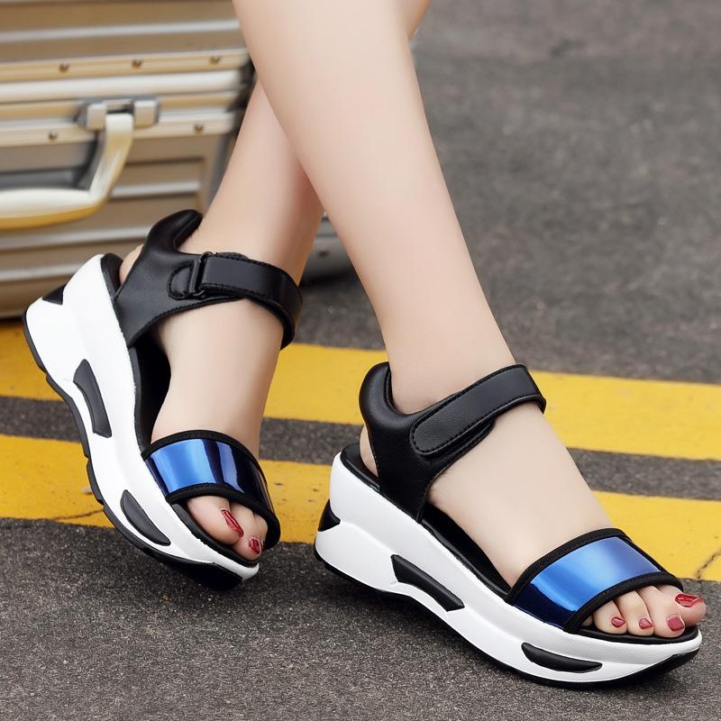 f15b74b54fc7 2019 Summer New Female Fashion Sandals Platform Increased Wedge Heel Shoes  Sports Shoes Casual Ankle Strap Ladies Platform Sparx Sandals Blue Shoes  From ...